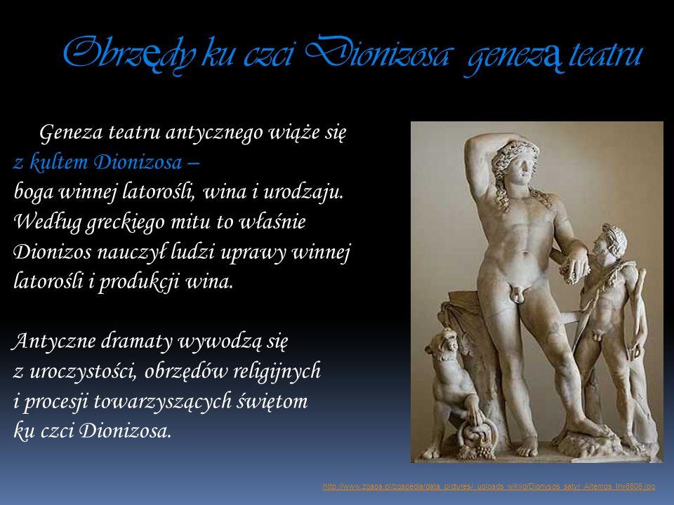 Obrz ę dy ku czci Dionizosa genez ą teatru Geneza teatru antycznego wiąże się z kultem Dionizosa – boga winnej latorośli, wina i urodzaju. Według grec