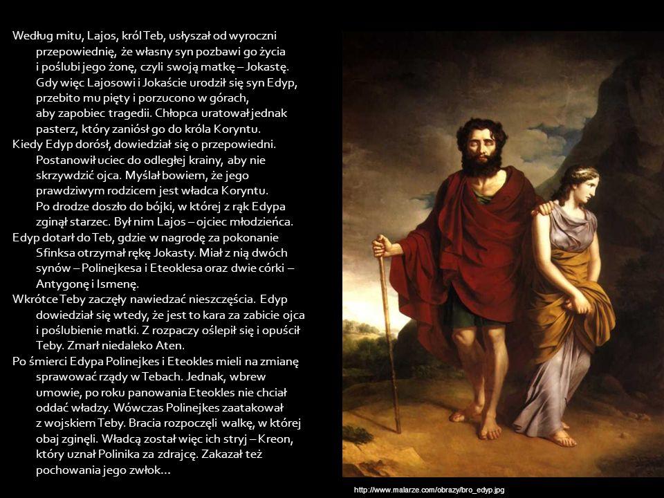 Według mitu, Lajos, król Teb, usłyszał od wyroczni przepowiednię, że własny syn pozbawi go życia i poślubi jego żonę, czyli swoją matkę – Jokastę. Gdy