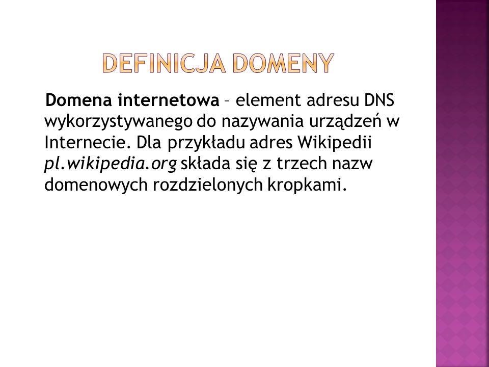 Domena internetowa – element adresu DNS wykorzystywanego do nazywania urządzeń w Internecie. Dla przykładu adres Wikipedii pl.wikipedia.org składa się