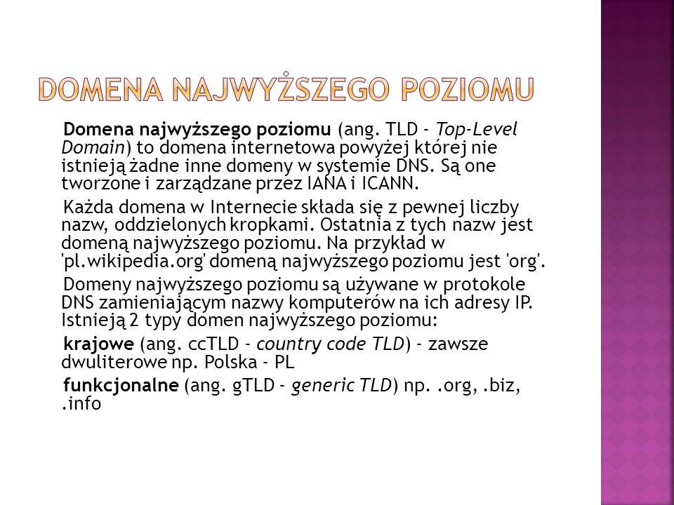 Domena najwyższego poziomu (ang. TLD - Top-Level Domain) to domena internetowa powyżej której nie istnieją żadne inne domeny w systemie DNS. Są one tw