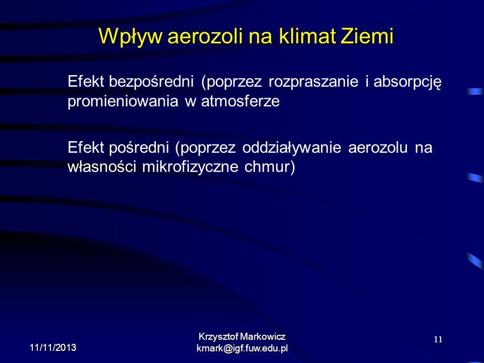 11 11/11/2013 Krzysztof Markowicz kmark@igf.fuw.edu.pl Wpływ aerozoli na klimat Ziemi Efekt bezpośredni (poprzez rozpraszanie i absorpcję promieniowan