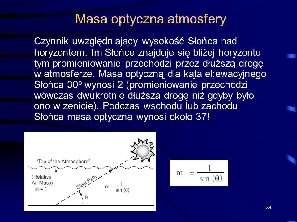 24 Masa optyczna atmosfery Czynnik uwzględniający wysokość Słońca nad horyzontem. Im Słońce znajduje się bliżej horyzontu tym promieniowanie przechodz