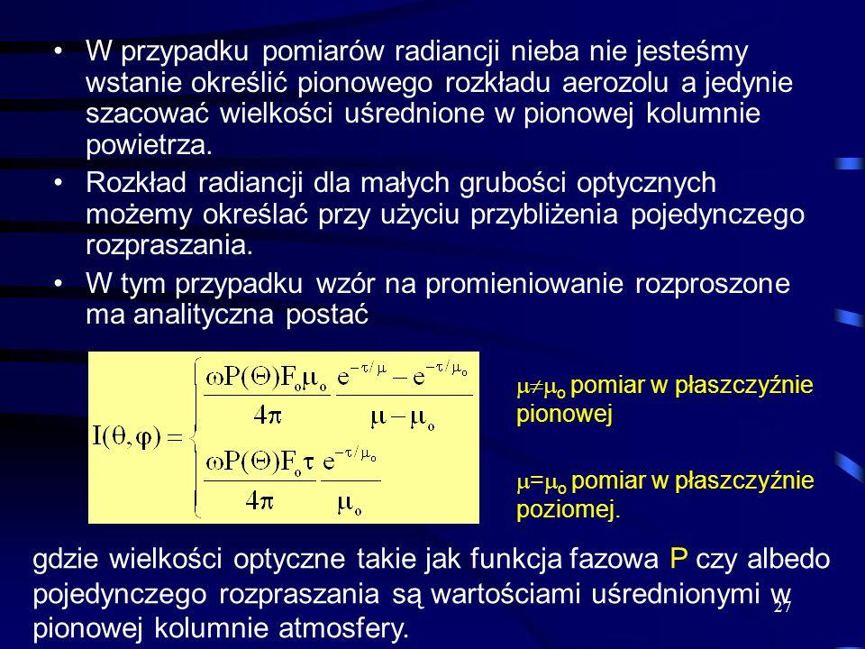 27 W przypadku pomiarów radiancji nieba nie jesteśmy wstanie określić pionowego rozkładu aerozolu a jedynie szacować wielkości uśrednione w pionowej k