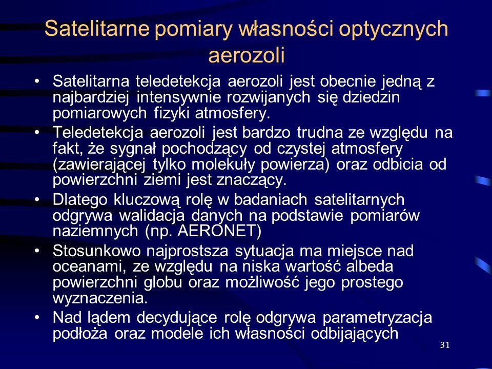 31 Satelitarne pomiary własności optycznych aerozoli Satelitarna teledetekcja aerozoli jest obecnie jedną z najbardziej intensywnie rozwijanych się dz