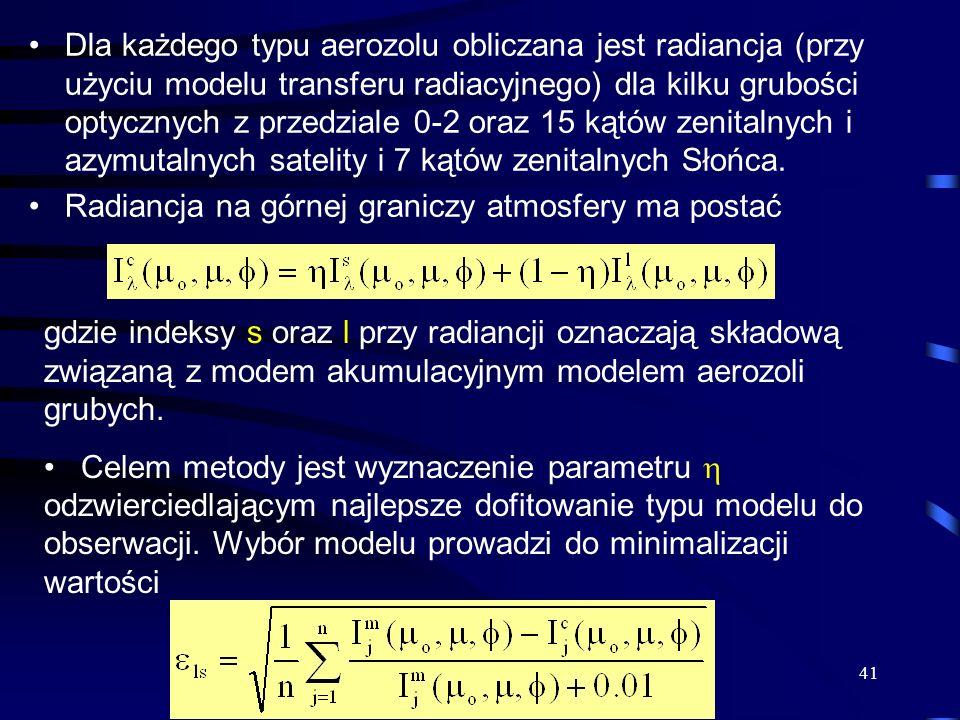 41 Dla każdego typu aerozolu obliczana jest radiancja (przy użyciu modelu transferu radiacyjnego) dla kilku grubości optycznych z przedziale 0-2 oraz
