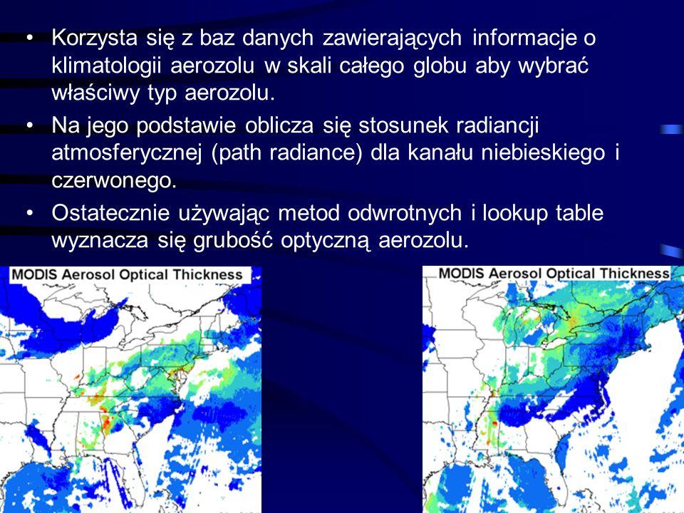 44 Korzysta się z baz danych zawierających informacje o klimatologii aerozolu w skali całego globu aby wybrać właściwy typ aerozolu. Na jego podstawie