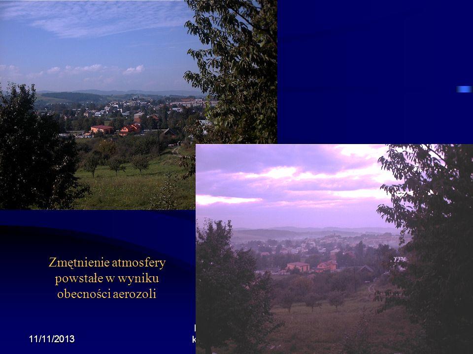 26 Pomiary promieniowania rozproszonego Promieniowanie rozproszone docierające do powierzchni ziemi czy też górnej granicy atmosfery zależy od własności optycznych aerozoli.