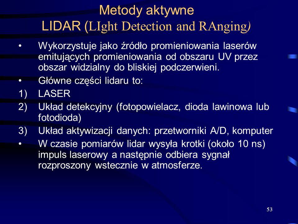 53 Metody aktywne LIDAR ( LIght Detection and RAnging) Wykorzystuje jako źródło promieniowania laserów emitujących promieniowania od obszaru UV przez