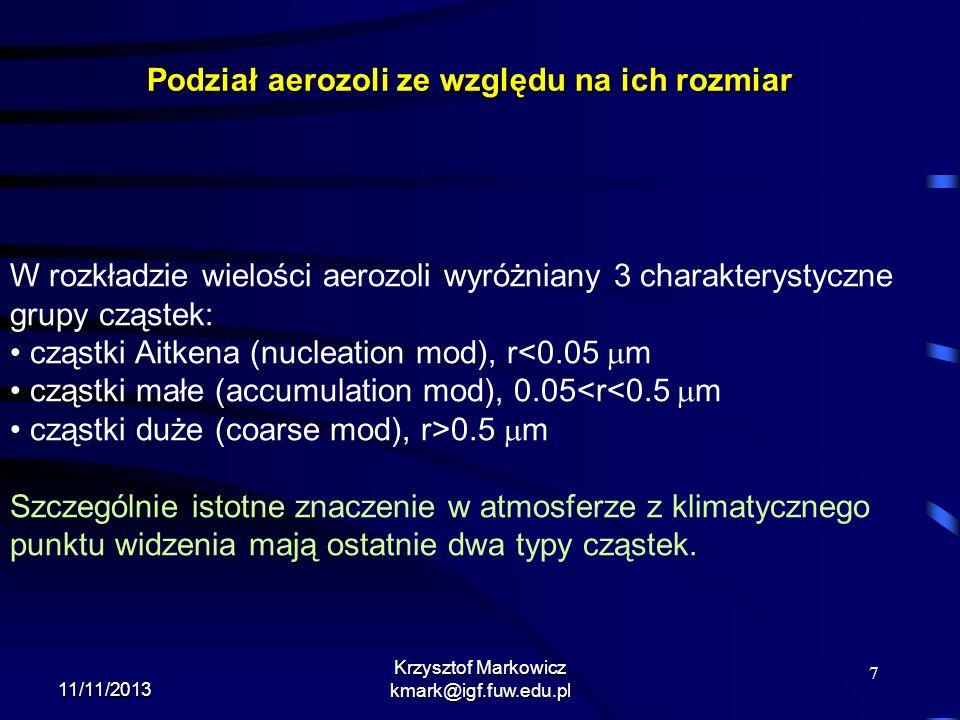 8 11/11/2013 Krzysztof Markowicz kmark@igf.fuw.edu.pl Produkcja aerozoli produkcja mechaniczna (powstawanie soli morskiej podczas załamywania fal morskich czy wynoszenie pyłu pustynnego w czasie burz pyłowych)produkcja mechaniczna (powstawanie soli morskiej podczas załamywania fal morskich czy wynoszenie pyłu pustynnego w czasie burz pyłowych) spalanie biomasyspalanie biomasy spalanie przemysłowe (pyły, gazy)spalanie przemysłowe (pyły, gazy) konwersja gazu do cząstek np.