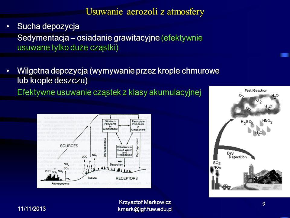 9 11/11/2013 Krzysztof Markowicz kmark@igf.fuw.edu.pl Usuwanie aerozoli z atmosfery Sucha depozycjaSucha depozycja Sedymentacja – osiadanie grawitacyj