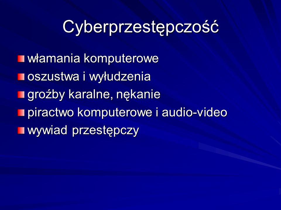 Cyberprzestępczość włamania komputerowe oszustwa i wyłudzenia groźby karalne, nękanie piractwo komputerowe i audio-video wywiad przestępczy