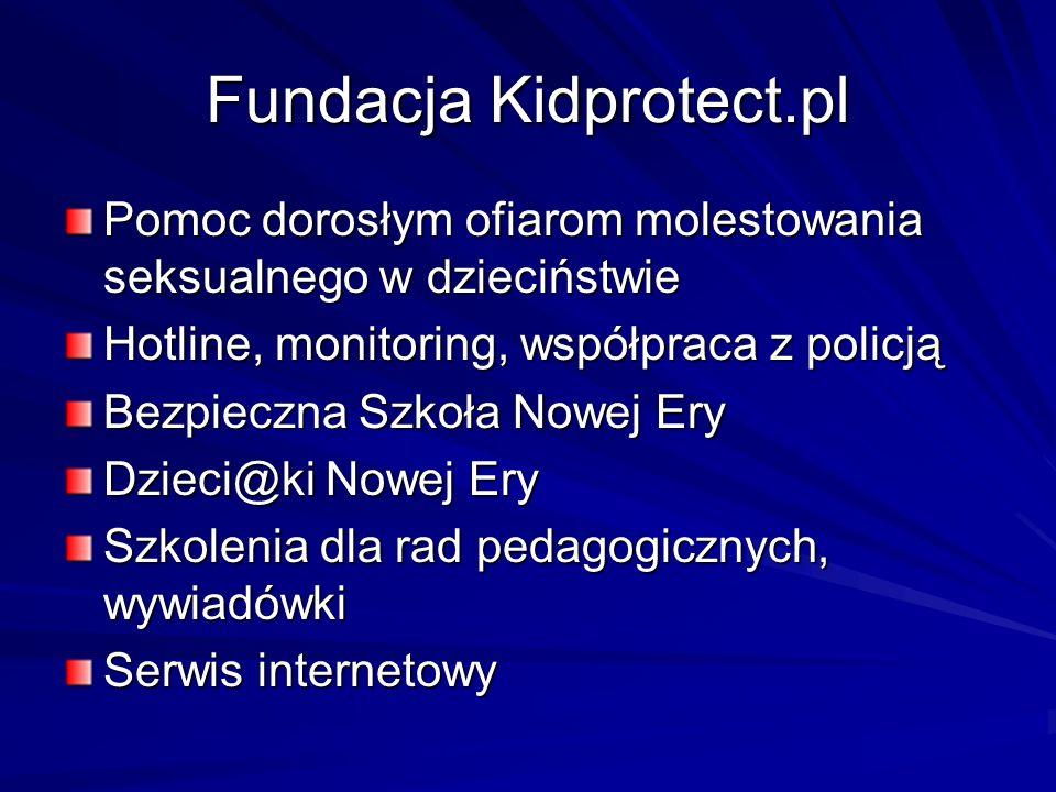 Fundacja Kidprotect.pl Pomoc dorosłym ofiarom molestowania seksualnego w dzieciństwie Hotline, monitoring, współpraca z policją Bezpieczna Szkoła Nowe