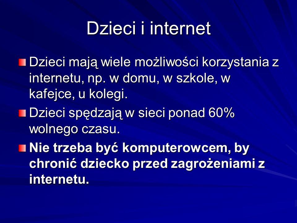 Dzieci i internet Dzieci mają wiele możliwości korzystania z internetu, np. w domu, w szkole, w kafejce, u kolegi. Dzieci spędzają w sieci ponad 60% w