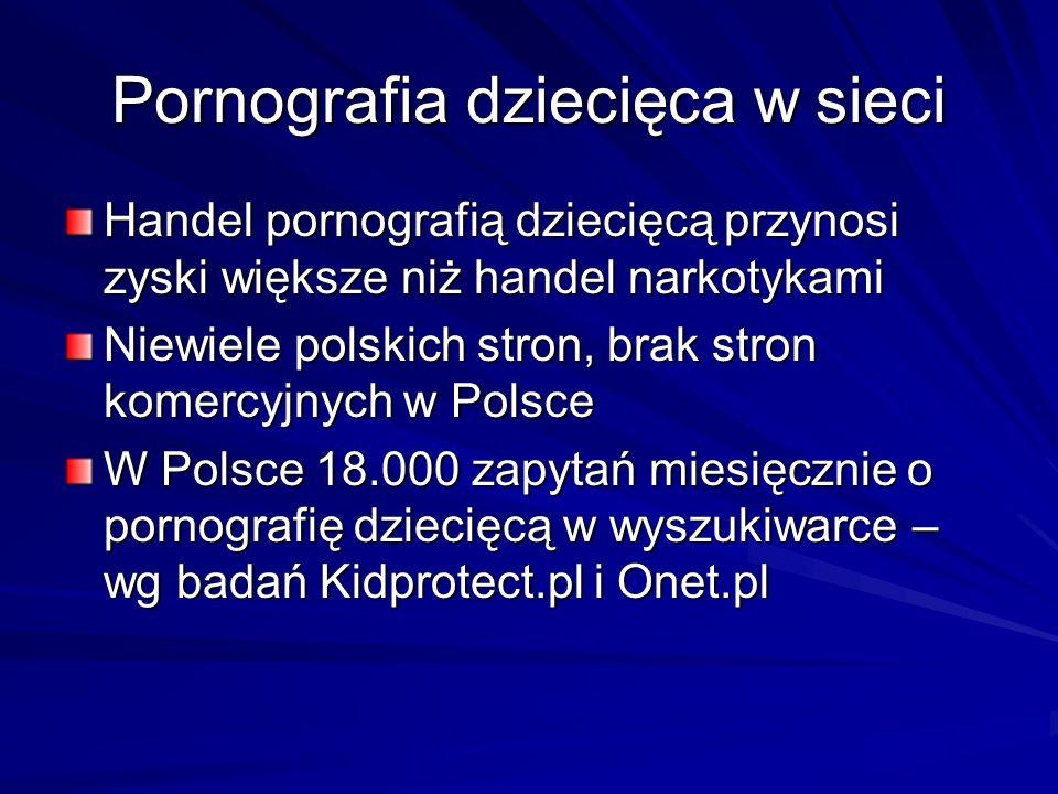 Pornografia dziecięca w sieci Handel pornografią dziecięcą przynosi zyski większe niż handel narkotykami Niewiele polskich stron, brak stron komercyjn