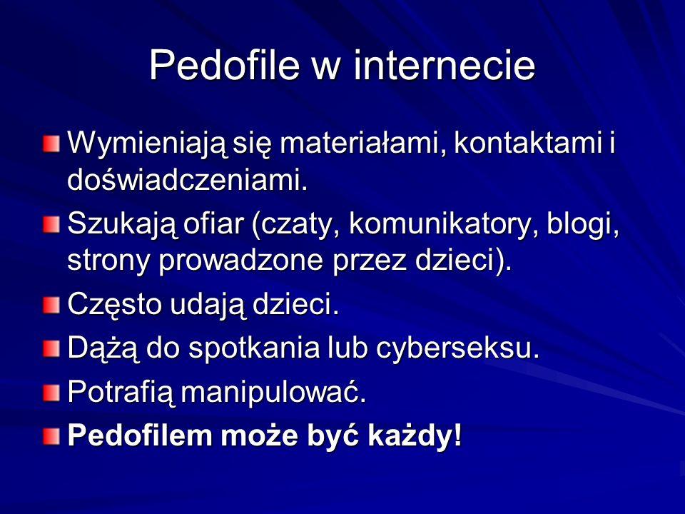 Pedofile w internecie Wymieniają się materiałami, kontaktami i doświadczeniami. Szukają ofiar (czaty, komunikatory, blogi, strony prowadzone przez dzi