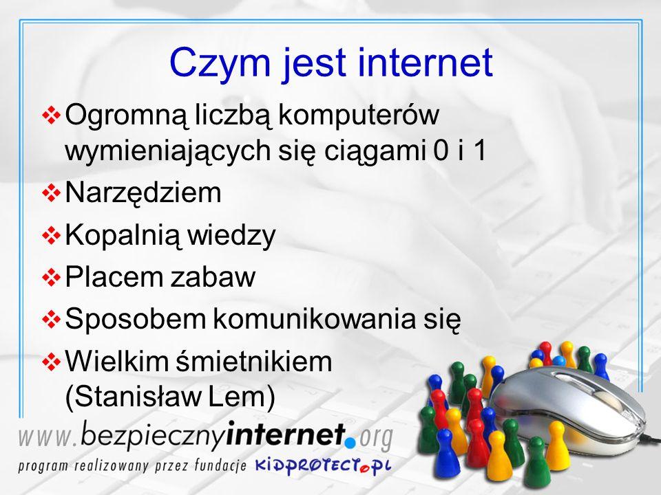 Czym jest internet Ogromną liczbą komputerów wymieniających się ciągami 0 i 1 Narzędziem Kopalnią wiedzy Placem zabaw Sposobem komunikowania się Wielk