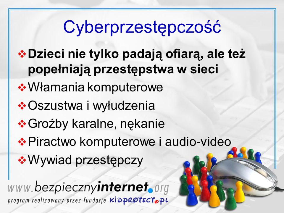 Cyberprzestępczość Dzieci nie tylko padają ofiarą, ale też popełniają przestępstwa w sieci Włamania komputerowe Oszustwa i wyłudzenia Groźby karalne,