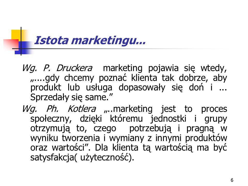 6 Istota marketingu... Wg. P. Druckera marketing pojawia się wtedy,....gdy chcemy poznać klienta tak dobrze, aby produkt lub usługa dopasowały się doń