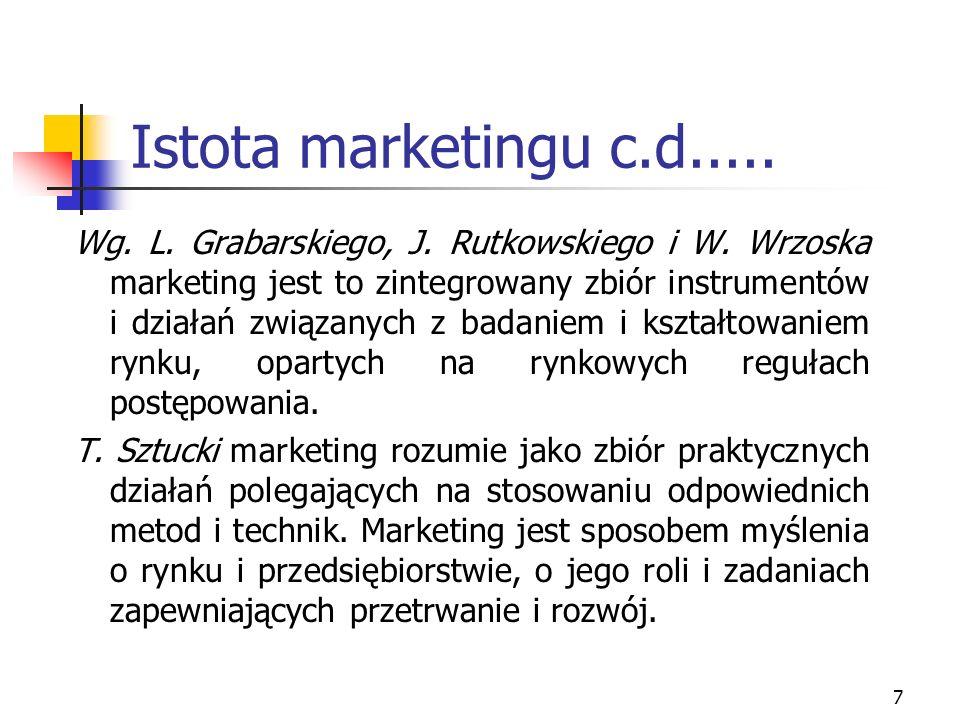 7 Istota marketingu c.d..... Wg. L. Grabarskiego, J. Rutkowskiego i W. Wrzoska marketing jest to zintegrowany zbiór instrumentów i działań związanych