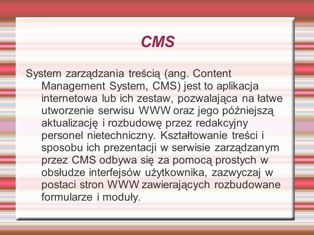 Komponenty wbudowane Doniesienia: kategorie i kanały RSS Kontakty: krótki opis podobny do komponetu sobi2 Można je porządkować w kategorie Powiadomienia: umożliwia wysyłanie użytkownikom wiadomości które są odczytywane po zalogowaniu danego użytkownika Przekierowania: umożliwiają przekierowania ze starych nieużywanych adresów na nowe np.