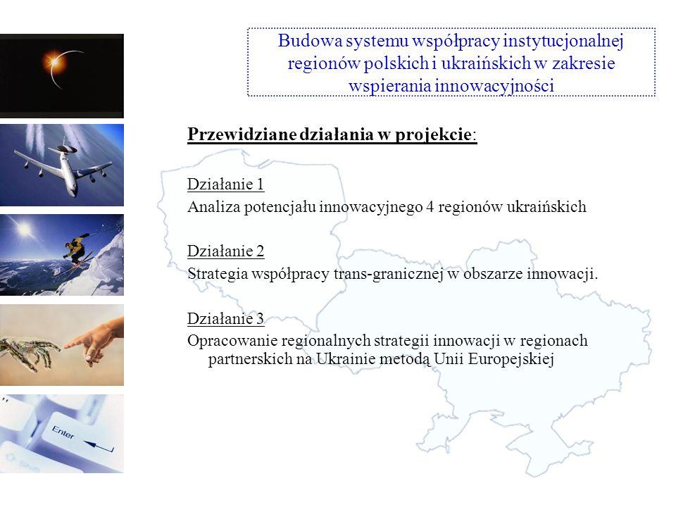 Przewidziane działania w projekcie: Działanie 5 Transfer wiedzy i dobrych praktyk pomiędzy regionami PL i UA przy wsparciu ekspertów z krajów EOG Poddziałanie 1: Konferencje i warsztaty tematyczne Poddziałanie 2: Staże dla przedstawicieli instytucji z Ukrainy w polskich urzędach i instytucjach wspierających przedsiębiorczość i innowacje Poddziałanie 3: Wizyty studialne Działanie 6 Monitoring i ewaluacja projektu oraz postępu współpracy Budowa systemu współpracy instytucjonalnej regionów polskich i ukraińskich w zakresie wspierania innowacyjności