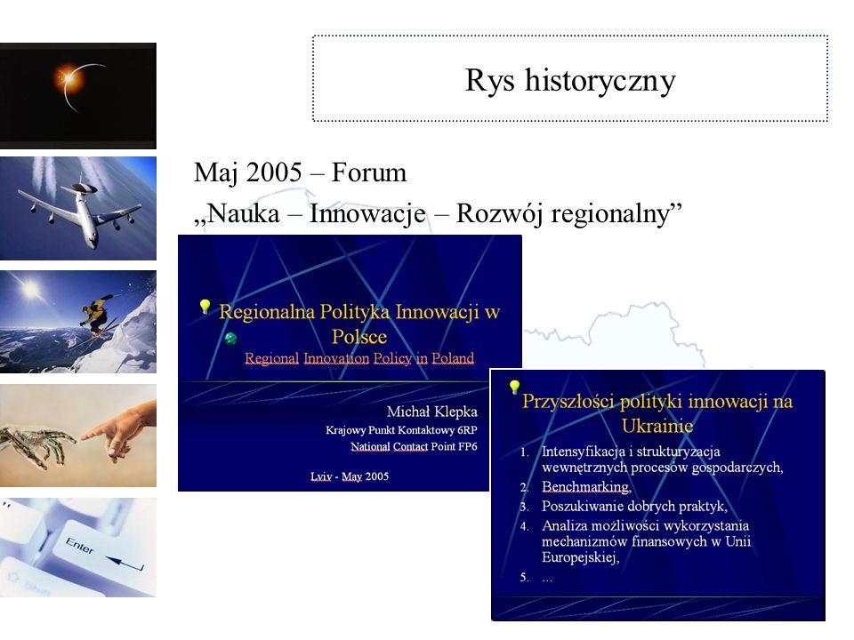 Rys historyczny Lipiec - grudzień 2005 Projekt finansowany przez MSZBudowanie przyjaznych warunków dla rozwoju innowacyjnych przedsiębiorstw Ukrainy poprzez mechanizmy regionalne.
