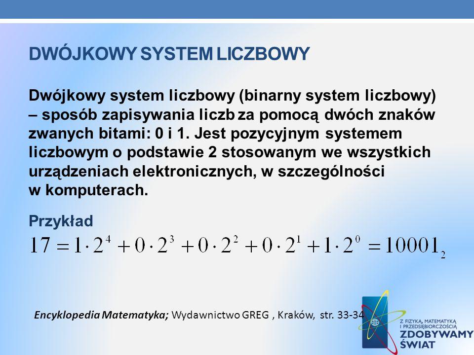 DWÓJKOWY SYSTEM LICZBOWY Dwójkowy system liczbowy (binarny system liczbowy) – sposób zapisywania liczb za pomocą dwóch znaków zwanych bitami: 0 i 1. J