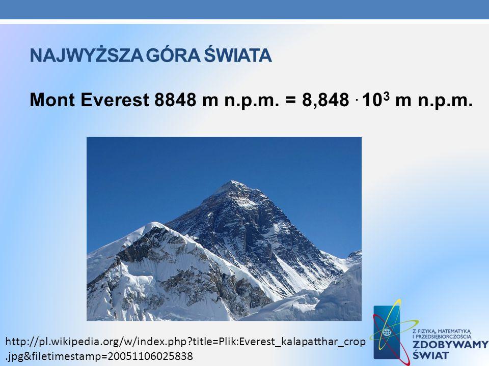 NAJWYŻSZA GÓRA ŚWIATA Mont Everest 8848 m n.p.m. = 8,848. 10 3 m n.p.m. http://pl.wikipedia.org/w/index.php?title=Plik:Everest_kalapatthar_crop.jpg&fi