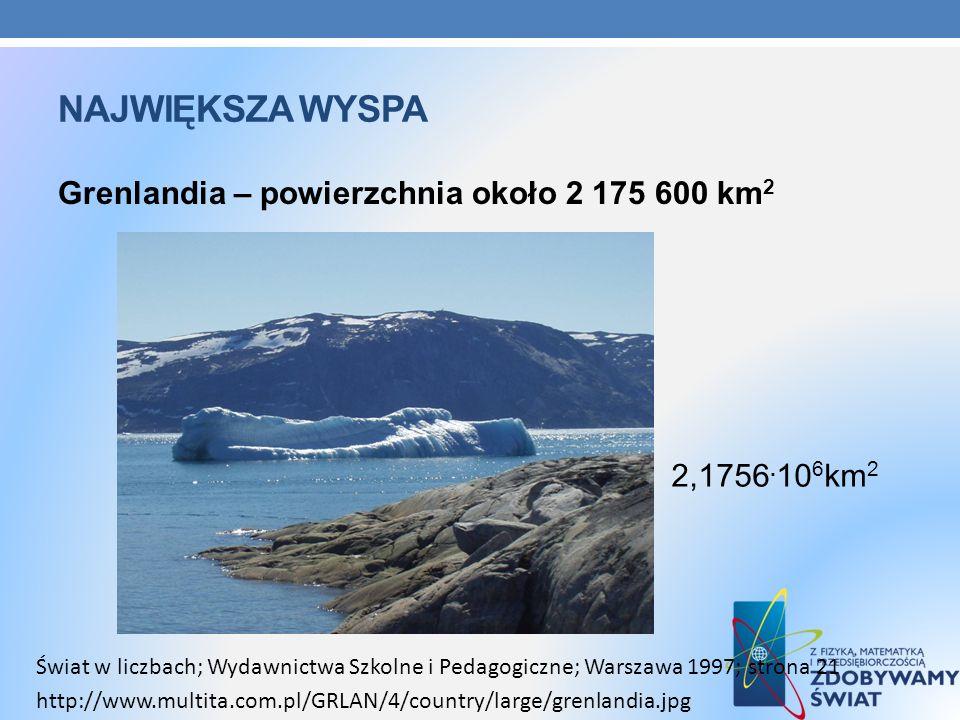 NAJWIĘKSZA WYSPA Grenlandia – powierzchnia około 2 175 600 km 2 http://www.multita.com.pl/GRLAN/4/country/large/grenlandia.jpg Świat w liczbach; Wydaw