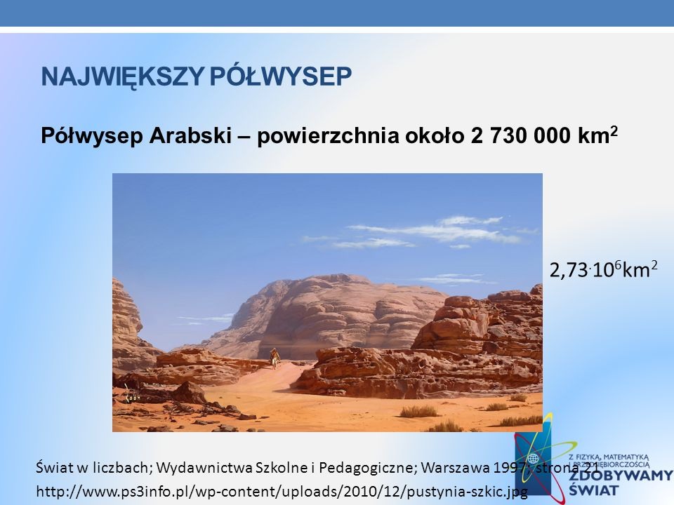 NAJWIĘKSZY PÓŁWYSEP Półwysep Arabski – powierzchnia około 2 730 000 km 2 http://www.ps3info.pl/wp-content/uploads/2010/12/pustynia-szkic.jpg Świat w l