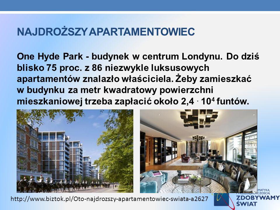 NAJDROŻSZY APARTAMENTOWIEC One Hyde Park - budynek w centrum Londynu. Do dziś blisko 75 proc. z 86 niezwykle luksusowych apartamentów znalazło właścic
