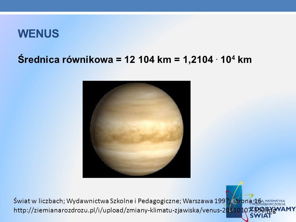 WENUS Średnica równikowa = 12 104 km = 1,2104. 10 4 km http://ziemianarozdrozu.pl/i/upload/zmiany-klimatu-zjawiska/venus-20110107-350.jpg Świat w licz