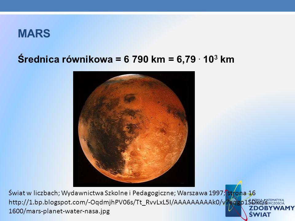 MARS Średnica równikowa = 6 790 km = 6,79. 10 3 km http://1.bp.blogspot.com/-OqdmjhPV06s/Tt_RvvLxL5I/AAAAAAAAAk0/v7eqgp1SDkc/s 1600/mars-planet-water-