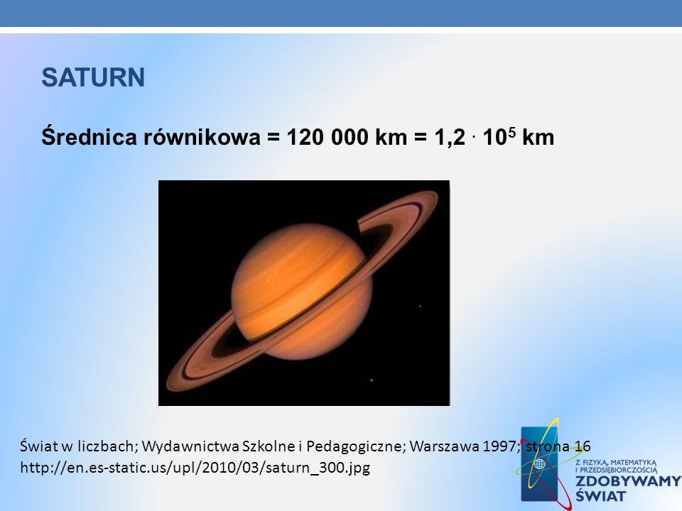SATURN Średnica równikowa = 120 000 km = 1,2. 10 5 km http://en.es-static.us/upl/2010/03/saturn_300.jpg Świat w liczbach; Wydawnictwa Szkolne i Pedago