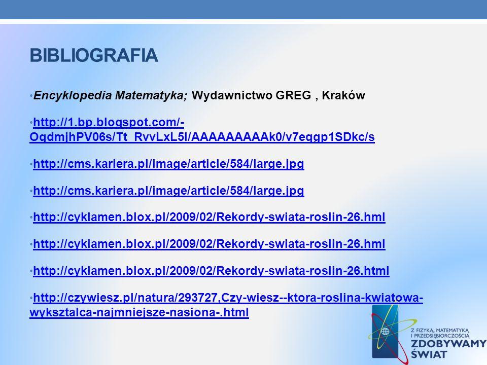 BIBLIOGRAFIA Encyklopedia Matematyka; Wydawnictwo GREG, Kraków http://1.bp.blogspot.com/- OqdmjhPV06s/Tt_RvvLxL5I/AAAAAAAAAk0/v7eqgp1SDkc/s http://1.b