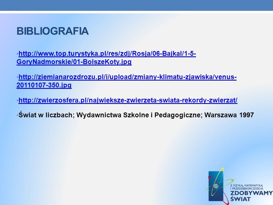 BIBLIOGRAFIA http://www.top.turystyka.pl/res/zdj/Rosja/06-Bajkal/1-5- GoryNadmorskie/01-BolszeKoty.jpg http://www.top.turystyka.pl/res/zdj/Rosja/06-Ba