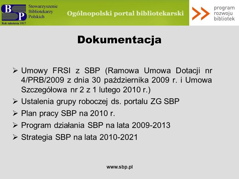 www.sbp.pl Etapy realizacji serwisu Etapy pracData zakończenia etapu Opracowanie koncepcjiDo 15.01.2010 Powołanie redakcji Do 31.03.2010 Projektowanie serwisuDo 25.06.2010 Wdrożenie techniczne i organizacyjne Do 30.07.2010