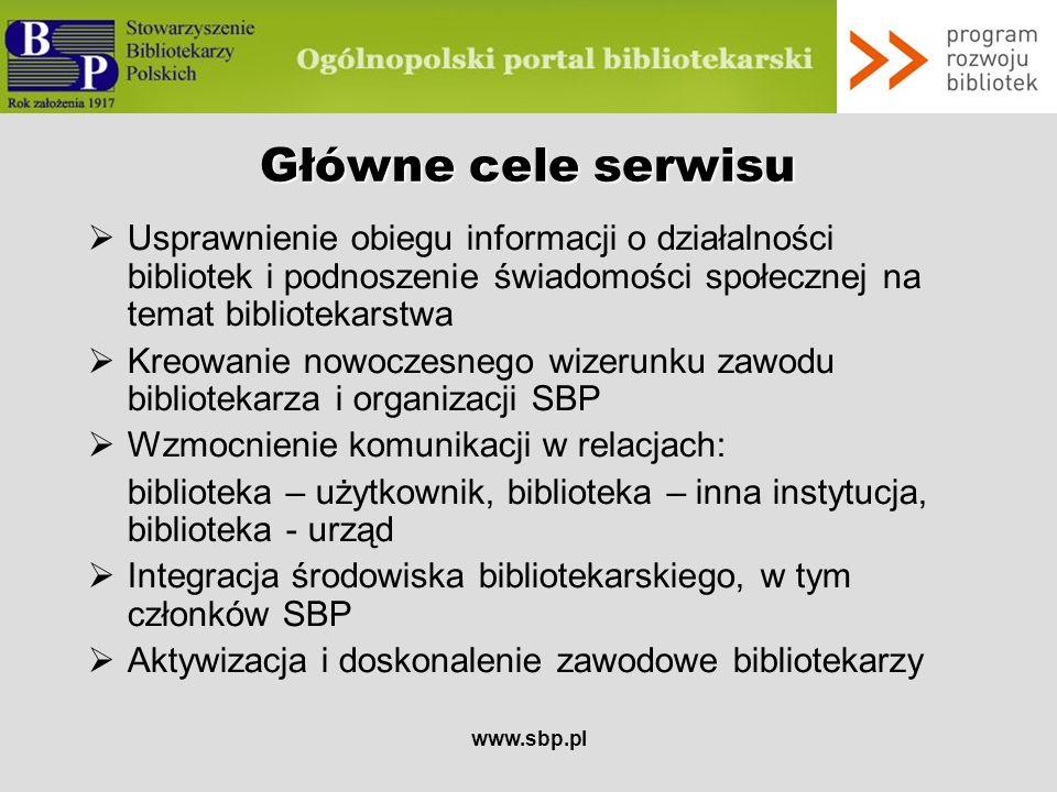 www.sbp.pl Odbiorcy serwisu bibliotekarze członkowie SBP bibliotekoznawcy pracownicy informacji naukowej pracownicy naukowi wydawcy księgarze studenci bibliotekoznawstwa pracownicy instytucji kultury, głównie przedstawiciele zawodów pokrewnych inni użytkownicy bibliotek