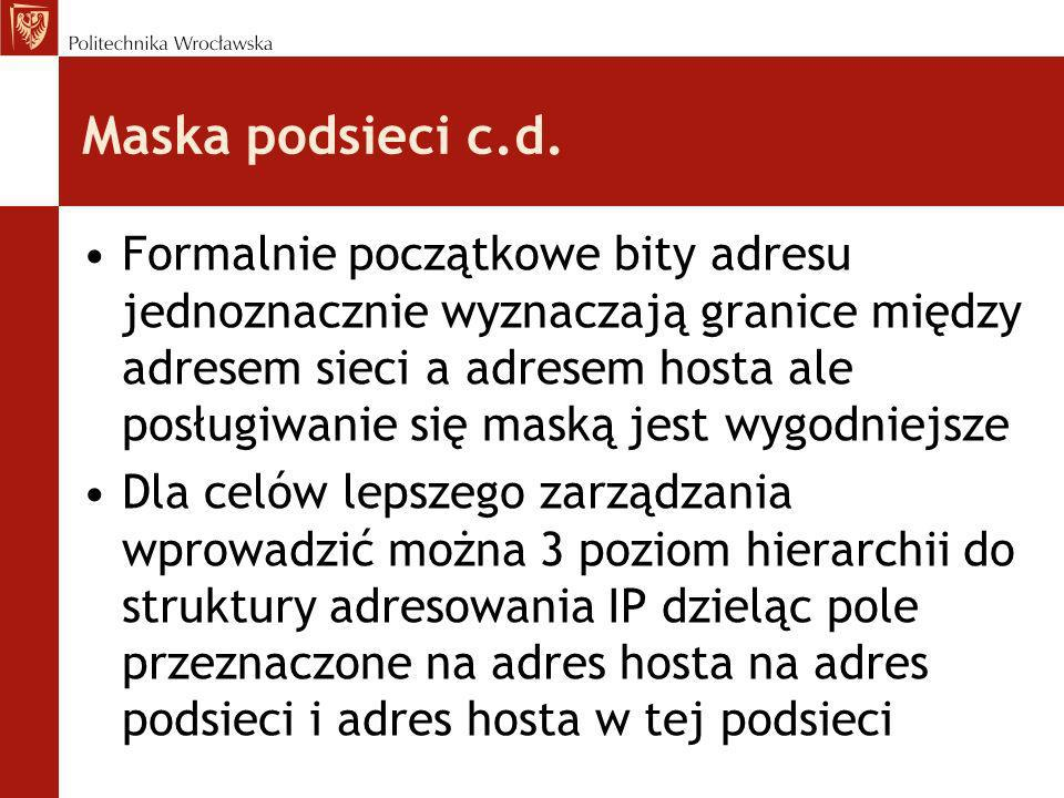 Maska podsieci c.d. Formalnie początkowe bity adresu jednoznacznie wyznaczają granice między adresem sieci a adresem hosta ale posługiwanie się maską