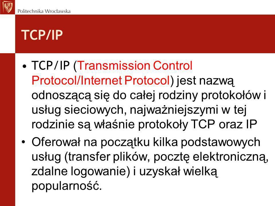 Protokół ICMP Datagram IP wędruje od nadawcy do odbiorcy, jeśli nie może być dostarczony w przewidzianym czasie (uszkodzenie, przeciążenie sieci, wyłączenie odbiorcy...) wówczas do nadawcy zwrotnie dostarczany jest komunikat ICMP- Internet Control Message Protocol (zawiera echo) Komunikat ICMP jest przenoszony w polu danych pakietu IP