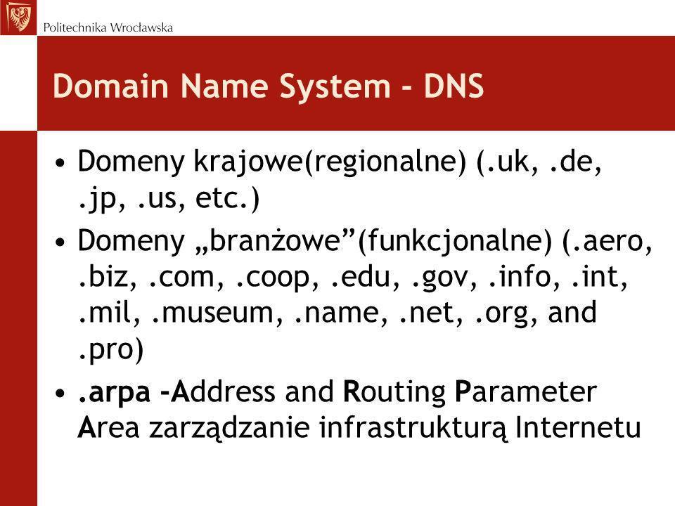 Domain Name System - DNS Domeny krajowe(regionalne) (.uk,.de,.jp,.us, etc.) Domeny branżowe(funkcjonalne) (.aero,.biz,.com,.coop,.edu,.gov,.info,.int,