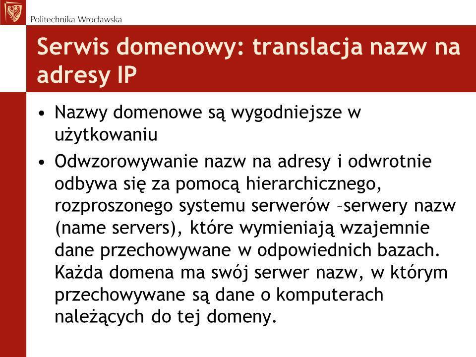 Serwis domenowy: translacja nazw na adresy IP Nazwy domenowe są wygodniejsze w użytkowaniu Odwzorowywanie nazw na adresy i odwrotnie odbywa się za pom