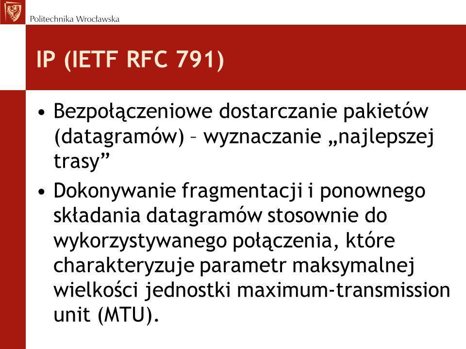 IP (IETF RFC 791) Bezpołączeniowe dostarczanie pakietów (datagramów) – wyznaczanie najlepszej trasy Dokonywanie fragmentacji i ponownego składania dat