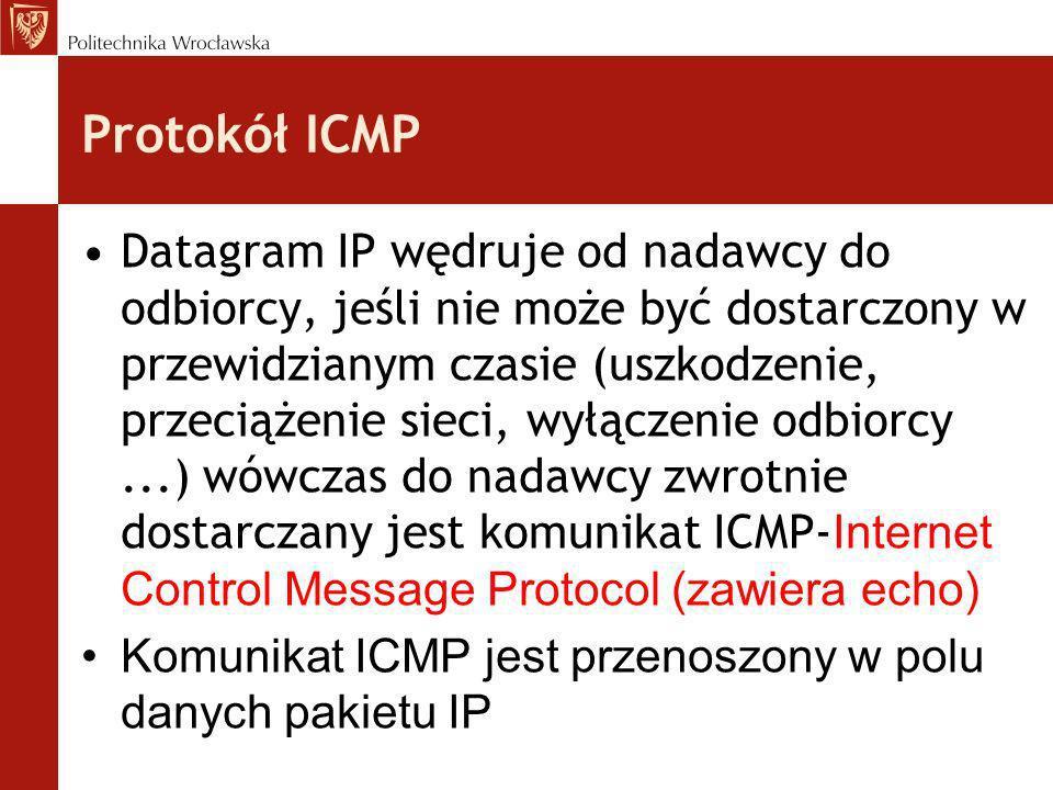 Protokół ICMP Datagram IP wędruje od nadawcy do odbiorcy, jeśli nie może być dostarczony w przewidzianym czasie (uszkodzenie, przeciążenie sieci, wyłą