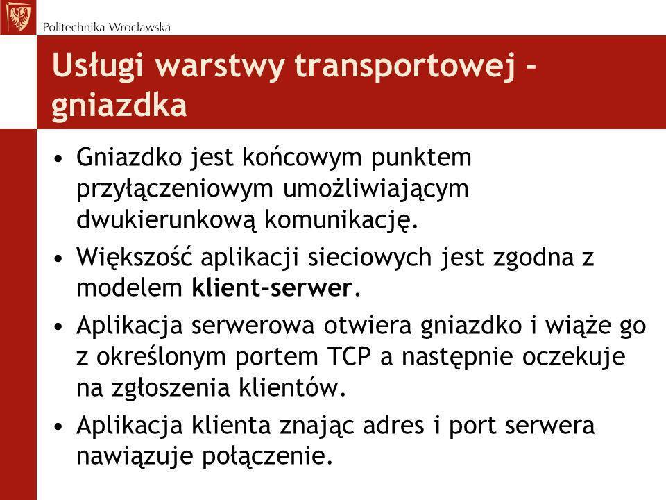 Usługi warstwy transportowej - gniazdka Gniazdko jest końcowym punktem przyłączeniowym umożliwiającym dwukierunkową komunikację. Większość aplikacji s