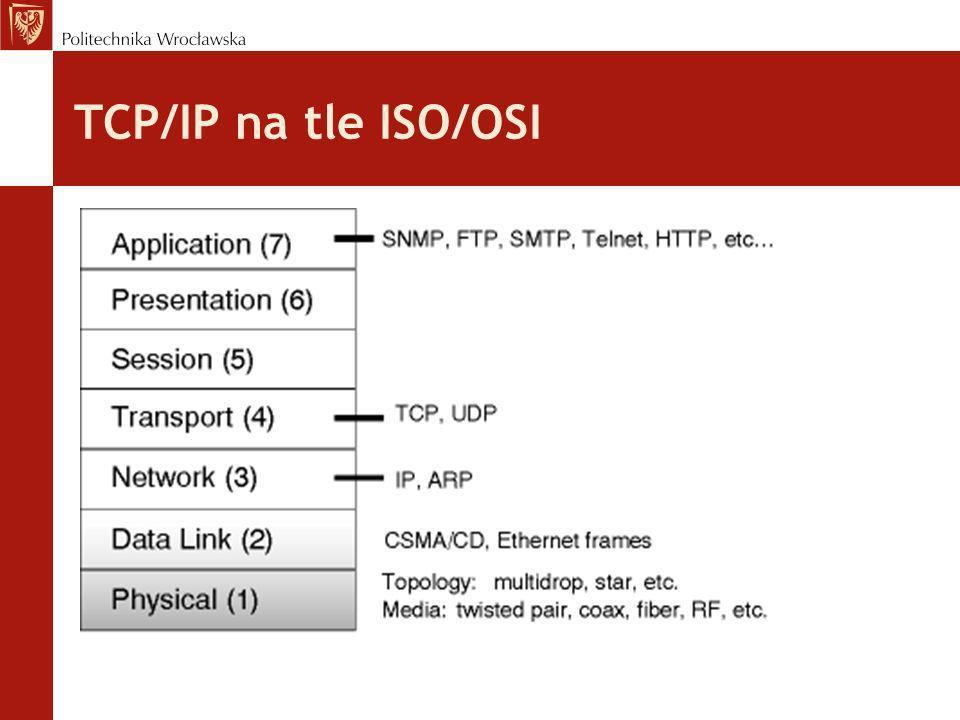 Maska podsieci Podobnie jak adres jest 32-bitową liczbą binarną np.: 11111111111111110000000000000000 (sekwencja jedynek poprzedzająca sekwencję zer) zapisywana jako 255.255.0.0 lub /16 (liczba po ukośniku mówi o liczbie jedynek) Maska podsieci informuje jaka część adresu IP reprezentuje sieć