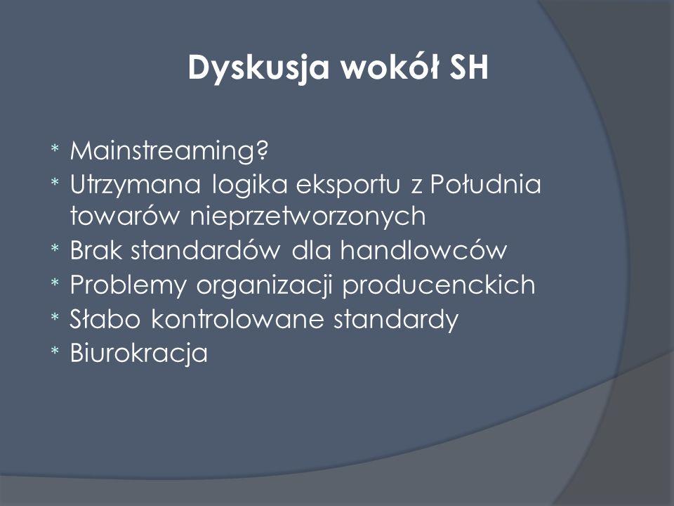 Dyskusja wokół SH * Mainstreaming? * Utrzymana logika eksportu z Południa towarów nieprzetworzonych * Brak standardów dla handlowców * Problemy organi