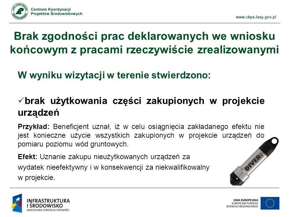 www.ckps.lasy.gov.pl Ewidencja księgowa Brak wyodrębnienia wszystkich operacji księgowych związanych z realizacją projektu Przykład: brak wyodrębnionej ewidencji księgowej dla środków trwałych (księgowanie na koncie ogólnym środków trwałych).