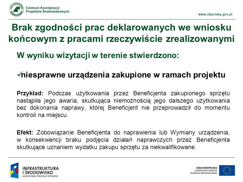 www.ckps.lasy.gov.pl Informacja i promocja Stosowanie logotypów niezgodnie z wytycznymi Przykład: w ciągu znaków znajduje się logotyp inny niż Beneficjenta czy podmiotu upoważnionego Przykład: zaburzony ciąg znaków tj.