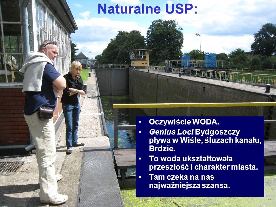 Naturalne USP: Oczywiście WODA. Genius Loci Bydgoszczy pływa w Wiśle, śluzach kanału, Brdzie. To woda ukształtowała przeszłość i charakter miasta. Tam